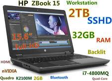 3D-Design HP ZBook 15 FHD i7-4800MQ FAST 2TB SSHD 32GB nVIDIA K2100M Backlit BT
