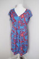 White Stuff Tropicana Dress Size 18 Blue Red Sundress Pockets Modal Floral