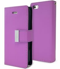 for iPhone SE & 5S - PURPLE Leather Case Magnetic Multi Cards Wallet Pouch Cover