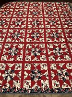 Vintage Folk Art Quilt Nautical Flags Americana Large 106X88 Red White Blue WoW