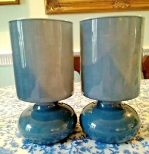 A pair IKEA. Vintage retro style LYKTA. Blue glass lamps