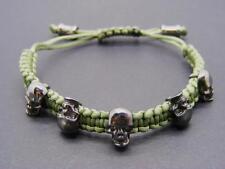 $28 Vince Camuto *Tour Of Duty* Green Macrame 5 Skull Bracelet Hematite Tone