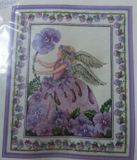 "Purple Pansy Flower Angel Flower Cross Stitch Kit #125 12""x14"" Vintage"