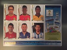 Panini 2014 Brazil WM WC World Cup BELGIUM EDITION VERSION Update Sticker Sheet