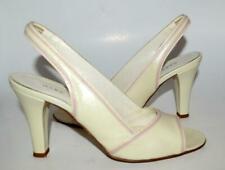 MARC JACOBS Women ivory pink trim leather peep toe slingback sandals 7 ITALY