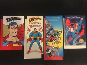 Vintage Lot of 4 Superman Greeting Cards and Envelopes