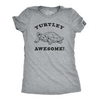 Womens Turtley Awesome T Shirt Funny Turtle Tee Cool Trendy Top for Ladies