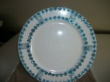 6Pc White With Blue Rhinestones Trim Plate Chargers