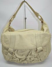 Anthropologie Lucky Penny Beige Genuine Leather Medium Slouchy Hobo Bag