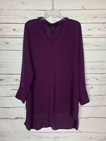 Eloquii Women's 14 Purple Long Sleeve V Neck Spring Summer Cute Tunic Top Blouse