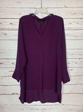 Eloquii Women's Size 4 Purple Long Sleeve V Neck Beautiful Fall Tunic Top Blouse
