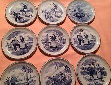 Vintage Delfts Plate Dutch scenery  Golden Crown E & R Belgium set of 9 plates *
