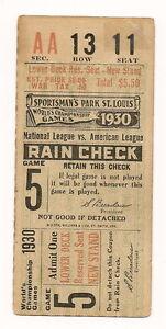 1930 St. Louis Cardinals-A's World Series Ticket Stub Game 5 Foxx Homer Wins!!
