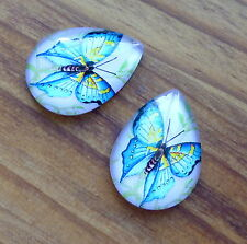 10 pcs Glass cabochon teardrop 25 x 18 mm with blue butterfly cabochons