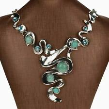 Genuine Turquoise Diamante Gem Elegant Rhinestone Bib Collar Pendant Necklace