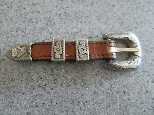 Sterling 925/leather partial cowboy hat band, heavily engraved, 5 1/4""