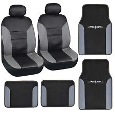 carXS 8pc Set Gray Black PU Leather Carpet Vinyl Trim Floor Mats+Car Seat Covers