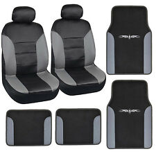 8pc Set Gray Black PU Leather Carpet Vinyl Trim Floor Mats & Car Seat Covers