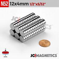 "10 25 50pcs 12mm x 4mm 1/2"" x 5/32"" N52 Strong Rare Earth Neodymium Magnet Disc"