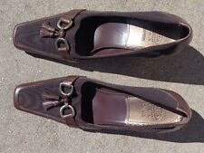 Joan & David women's brown leather high heel shoes size 7 1/2 M