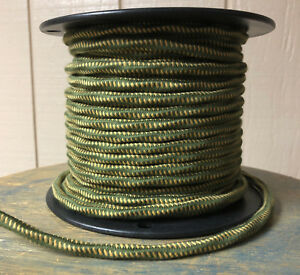 Green/Yellow 16ga Cloth Covered 3-Wire Overbraid Cord - Vintage style electrical