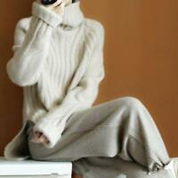 Womens Cashmere Warm High-Necked Sweater Long Sleeve Loose Coat Tops Turtleneck
