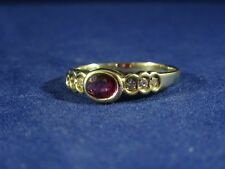 Vintage 14ct Oval Cut Solitaire Ruby with Diamond Highlights Ring, Size P