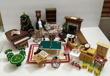 Vintage Doll House Furniture Mixed Wood living room nursery piano tree Chimney
