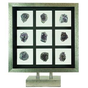 Natural Purple Amethyst Quartz Crystal GeodeShadow Box
