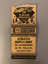 Vintage Matchbook Athletic Supply Shop Mansfield Oh