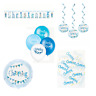 Boys Blue Christening Party Flag Themed Decorations Banner Balloons Confetti