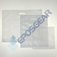 More details for very strong plain white patch handle gift retail shopping plastic carrier bags