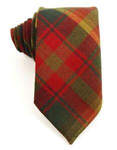 Ingles Buchan Scottish Maple Leaf Tartan Plaid Wool Tie Necktie Red Green Gold
