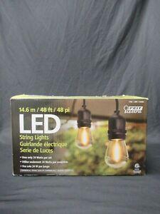 Feit Outdoor Weatherproof String Light Set 48ft 24 Light Sockets w/ 26 LED Bulbs