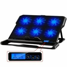 Laptop Cooling Fan Pad 6 Double USB Port Cooler Light LCD Display Notebook Stand