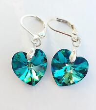 Ohrringe silberfarben mit Swarovski® Kristall Herz Bermuda Blue Blau Grün Türkis