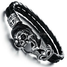 Stainless Steel Skull Fleur De Lis Cross Leather Cuff Men Bracelet Halloween Gif