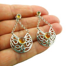 Amber annd 925 Silver Drop Earrings in a Gift Box