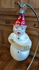 Antique Glass Snowman with Concertina Christmas Tree Ornament