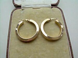Vintage Large Pair of 9ct Gold Hoop Earrings.