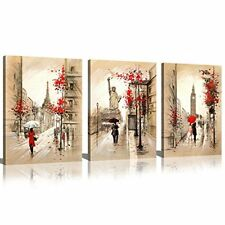 Paris Street Eiffel Tower Canvas Print Wall Decor Art Painting Picture Framed
