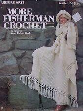 More Fisherman Crochet pattern book, hats, afghan, scarf, mittens, pillow LA