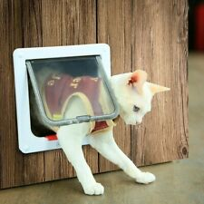 "Pet Door Medium Size Magnetic Kit White Cat Flap with 4 Way Lock 7.5"" x 7.8"" New"