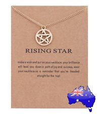Pentagram Rising Star Gold Inspirational Message Witch Wicca Pendant Necklace