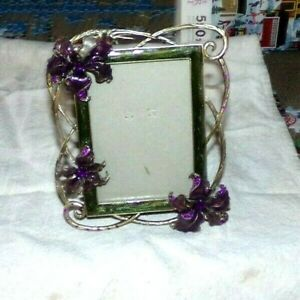 """Metal and Enamel Photo Picture Frame Purple Flowers Jewels  3"""" X 5"""" Photo"""