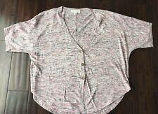 White + Warren Boxy Linen Blend Button Down Short Sleeve Sweater Pink Grey Small