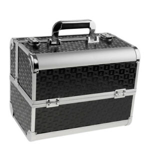 Black Aluminum Makeup Train Case Jewelry Box Cosmetic Organizer Tool Storage