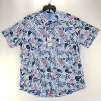 IZOD Mens Blue Shirt Saltwater Pineapple Flamingo Button Pocket Hawaiian 2XL XXL