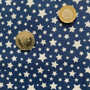 Fat Quarter Blue & White Stars Print Craft Cotton Fabric for Quilting, Sewing UK