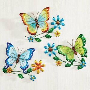Set of 3 Metal & Glass Butterfly With Flower Blossoms Garden Sculptures Wall Art